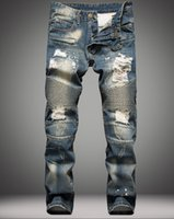 Wholesale 2016 Balmain fashion brand for men ripped holes jeans frayed destroyed Slim Retro denim biker casual pants hip hop swag overalls