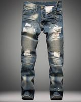 achat en gros de salopettes pour les hommes-2016 Balmain marque de mode pour les hommes rasés trous jeans effiloché détruit Slim rétro denim cycliste casual pantalons hip-hop salopettes 29-42
