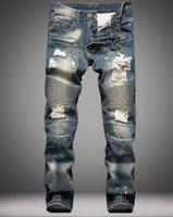 al por mayor trajes de trabajo para los hombres-2016 marca de moda Balmain para los hombres rasgado agujeros vaqueros deshilachados destruido delgado retro del dril de algodón motorista guardapolvos Swag de pantalones casuales de hip-hop