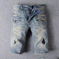 al por mayor balmain para hombre-BALMAIN Biker Jeans Correr Pantalones Cortos 2016 Mens Diseñador Cargo Pantalones Cortos famosos Balmain Jeans Hombres Jeans Casual Surf Denim cbvu7