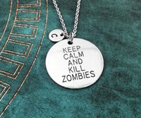 american kill - Keep Calm and Kill Zombies Necklace Zombie charm pendant Necklace Personalized Jewelry Initial Necklace