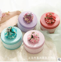 Wholesale Silk Satin Gift Boxes - Wedding Candies Boxes Circle Tinplat Gift Boxes Flowers Silk Various Colors Candies Boxes Creative Wedding Accessories