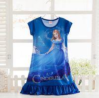 baby silk pajamas - Summer Children s Frozen Clothing Cartoon Elsa Anna Princess Picture Baby Girl Homewear Dresses Pajamas Kids Cartoon Dress