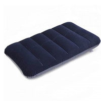 Wholesale Outdoor Travel Folding Air Inflatable Pillow Dark Blue Portable Flocking Cushion for Office Plane Hotel Square Flocking Pillow