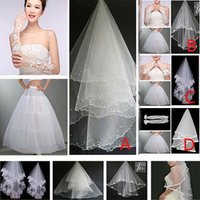 Wholesale Fashion Women Girls Bridal Accessories Weddings Party Sets Bridal Gloves Bridal Lace Veils Petticoats Ladies Tulles Flower Hem ZJ G04