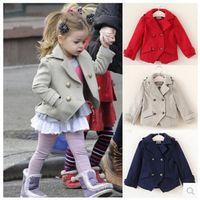 Wholesale Fashion Years Jackets for Girls Cotton Woolen Kids Outwear Autumn Spring Europe Princess Girls Coats Hot Jackets MC0041