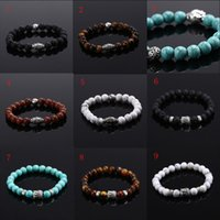 lava rock - Fashion Mens Lava Natural Stone Head Buddha Beaded Rock Handmade Agate Bracelet