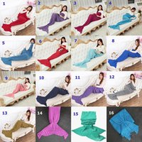 Wholesale 2016 Colors Adult and Kids Crochet Mermaid Tail Blankets Sleeping Bags Costume Cocoon Mattress Knit Sofa Blankets Handmade Living Room