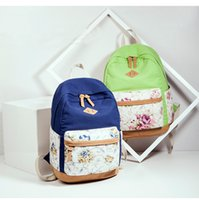 Wholesale Travel canvas shoulder bag flower print women fashion day packs leisure sports backpack colors available