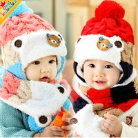 bear ears headband - The new autumn and winter newborn baby headband Hat scarf piece Cute bear plus velvet ear baby hat MZ