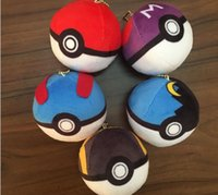 Wholesale Styles New Arrival Pikachu Red Ball cm Soft Plush Toy Pendant Key chain Doll Poke Ball Pokeball for children