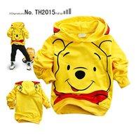 Wholesale baby girls and boys jacket kids hoodies coat children clothing kids pure cotton cartoon Pooh Bear coats new style autumn winter coats