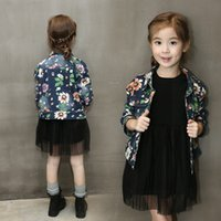 Wholesale New Winter Autumn Baby girls Floral coat denim Flowers Outwear clothing kids jacket tops C1218