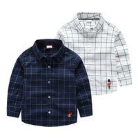 Wholesale 2016 Autumn Fashion Children Clothing Boys cotton Classic Striped Long sleeved Shirt V neck Boys Shirt