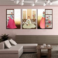 ancient ship pictures - Unframed Pieces picture Canvas Printing Cartoon ancient ladies south Korea Sunflower Wine Glass flower river ship mountain