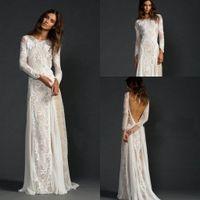 beach max - 2016 Champagne White Lace Boho Beach Long Sleeve Sheath Backless Wedding Dresses Vintage Max Bohemain Cheap Wedding Gown