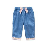 bella jeans - DAVE BELLA Cotton2016Spring Autumn Cute kid toddler baby girl jeans denim pants trousers bow patchwork children baby girl clothes M T