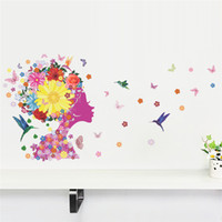 abstract flower design - 140x65cm Flower Sprite Elf Wall Stickers for Kids Rooms Living Room Home Decor Wall Decor Decoration Mural Art