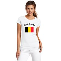 belgium national flag - New BELGIUM Football Fans Cheer T Shirts Women Clothing European Cup Fitness Sports National Flag Tops Tees For Women