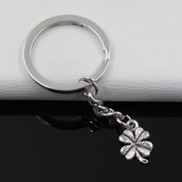 antique irish jewelry - Fashion diameter mm Key Ring Metal Key Chain Keychain Jewelry Antique Silver Plated lucky irish four leaf clover mm Pendant