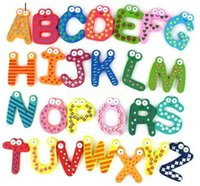 large wooden letters - 26 Letters Learning Toys Retail Fridge Magnet Child Colorful words shape Learning Wooden Magnetic Toddler Children Toys