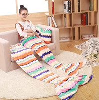 Wholesale 16 design Adult kids Flannel Mermaid Tail Blanket Super Soft Warmer Blanket Sleeping Costume Air condition Knit Blanket with Fish scales