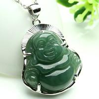 burma natural jade - Authentic silver inlaid jade Buddha pendant natural A cargo oil Burma jade green jade Buddha and hang for women
