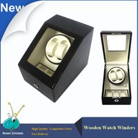 Wholesale Latest Fashion Daul Channel Automatic Watch Winder Modes Box Case Locks Black Wooden Watch Winders
