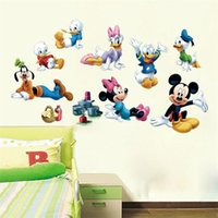 baby girl wall decal - 100pcs X011 Cartoon Donald Duck lovely mickey mouse minnie art Kids room decor girls gift home decal wall stickers art baby room decor