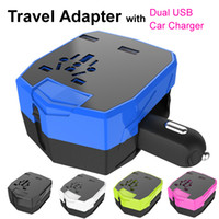 apple laptops uk - 2016 Worldwide Travel Universal Adaptor with Car Charger Dual USB Sockets UK AU USA EU Plug for iPhone Laptop VAC Power Output