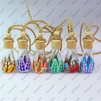 Wholesale Small ml Empty Glass Bottle for Perfume Essential Oils Car Decoration Pendant with Hang Rope Leaves and Tree D0424