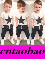 baby star suit - Promotion kids children s clothing sets baby boys short white sleeve star t shirt pants trousers causal clothing suit