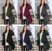 bats trench - Women Trench Coat Irregular Long Cashmere Overcoats Trench Woolen Coat Female Warm Wool Long Sleeve Overcoat colors