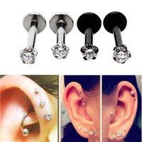 barbell stud earrings - 1pair Stainless Steel Tragus Helix Ear Stud Earring Ball Barbell Ear Piercing Black Silver Gold Barbell Jewelry For Men Women
