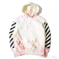 tie dye hoodies - 2016 OFF WHITE Mens Pullover Hoodies Tie dyed Stripe Print Hooded Fleece Sweatshirt HBA OFF WHITE C O VIRGIL ABLOH Men Women Hoodies
