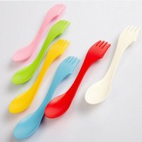 Wholesale Three in one multifunctional outdoor dining spoon DHL Plastic spoon fork outdoor spork For colors