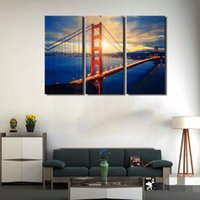 art san - LK393 Panel San Francisco Cityscape Bridge Landscape Sunset Wall Art High Giclle Wall Picture Print On Canvas For Home Bar Hub Kitchen F