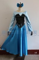 ariel bow - New Arrival The Little Mermaid Adult Ariel Cosplay Costume blue dress with hair bow top vest skirt