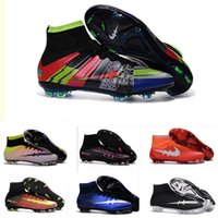 Wholesale 2016 new Original Quality Mercurial Superfly V FG Mens Football Shoes Cleats Cheap High Ankle Outdoor Superfly Soccer Shoes Boot