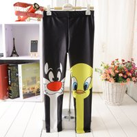 Wholesale Europe Fashion Children Girls Cartoon Duck Cat Printing Black Leggings Women Girls Family Leggings Tights Kids Trousers Render Pants