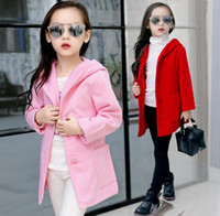 Wholesale Kids Winter Coats Children Big Girls Fur Balls Hoodie Jacket Woolen Overcoat Tops Kids Clothes Outwear Red Pink K8064