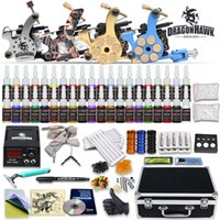 4 Guns professional tattoo kit - Complete Top Tattoo Kits Machine Guns Color inks Tattoo Ink Sets Tattoo Power Supply Tattoo Needles Grip Tip D176GD