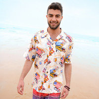 american flag fancy dress - Mens Hawaiian Shirt American Flag Cartoon Car Western Wilderness Fancy Dress Shirts For Men Summer Style Camisa Brand Clothing