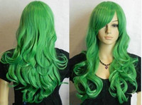 Wholesale Ladies Lolita Green Long wavy Curly Anime Cosplay Hair Wigs wig cap