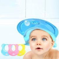 Wholesale Soft Silicone Velcro Adjustable Baby Kids Children Shampoo Bathing Shower Hat Cap Bathing Supplies Eye protection Kids Hats Bathing Caps