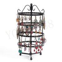 al por mayor la joyería colgante de metal-144 agujeros que giran el estante de visualización colgante negro del collar de los pendientes del sostenedor del soporte de exhibición del organizador de la joyería para las mujeres