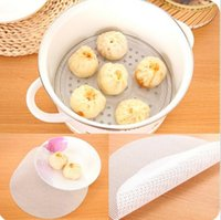 Wholesale 24cm Round Silicone Eco friendly Steamer Pad Steamed Stuffed Bun Bread Pad Household Steamer Steamed Dumplings Mat