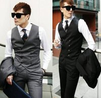 Wholesale Men s Clothing British Style Slim Fit Cotton Double Breasted Sleeveless Jacket Waistcoat Men Suit Vest Black Gray Business Gilet