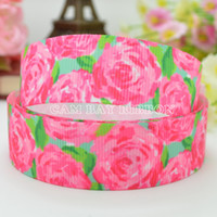 Wholesale HOT quot mm Pink Rose Flowers Print Grosgrain Ribbon Hair Bow DIY Handmade Sewing Ribbon Crafts Materials Garments Decorating Tape