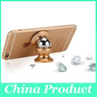 Wholesale Elecitison Gold plated Magnetic iphone s Holder stand Car Kit Degrees Rotating Car Universal Mount Vehicle mounted Cell Phone